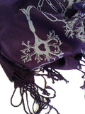Axon and Dendrite Scarf. Dove grey on eggplant pashmina.
