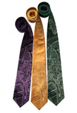 New Orleans Map Print Necktie: purple green and gold, Cyberoptix