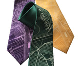 New Orleans Map Necktie: purple green and gold, Cyberoptix