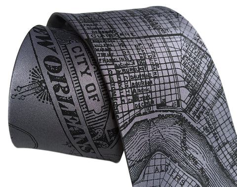 New Orleans Map Silk Necktie