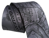 Dark silver New Orleans Map Necktie, Cyberoptix