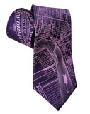 Eggplant Purple New Orleans Map Necktie, Cyberoptix
