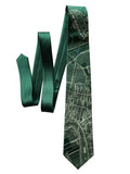 Emerald Green New Orleans Map Necktie, Cyberoptix