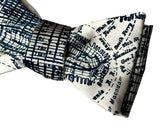 new york city map print bow tie, by cyberoptix. Navy on cream