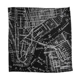 Black New York & Brooklyn map pocket square, by Cyberoptix.