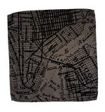 Driftwood grey NYC & Brooklyn map pocket square, by Cyberoptix.