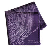 New Orleans Map Pocket Square, eggplant purple. by Cyberoptix