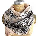 New York City Vintage Map Scarf, Manhattan Luxe Weight Pashmina, by Cyberoptix