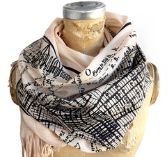New York City Vintage Map Scarf. Manhattan, Brooklyn Luxe Weight Pashmina