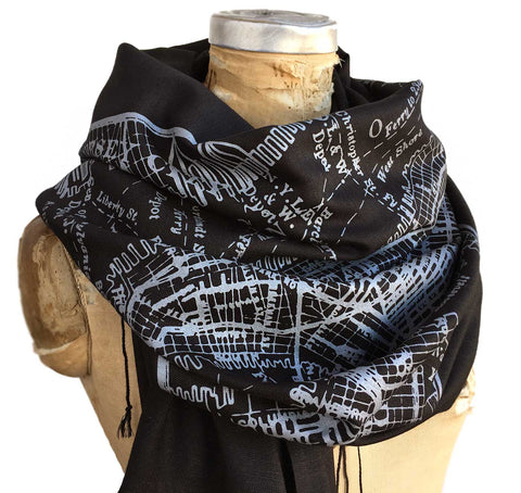 New York City Map Scarf, Brooklyn & Manhattan Linen-Weave Pashmina