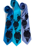 Owl print neckties. Navy ink on electric blue, turquoise and periwinkle ties