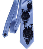 Owl Necktie. Navy ink on periwinkle microfiber