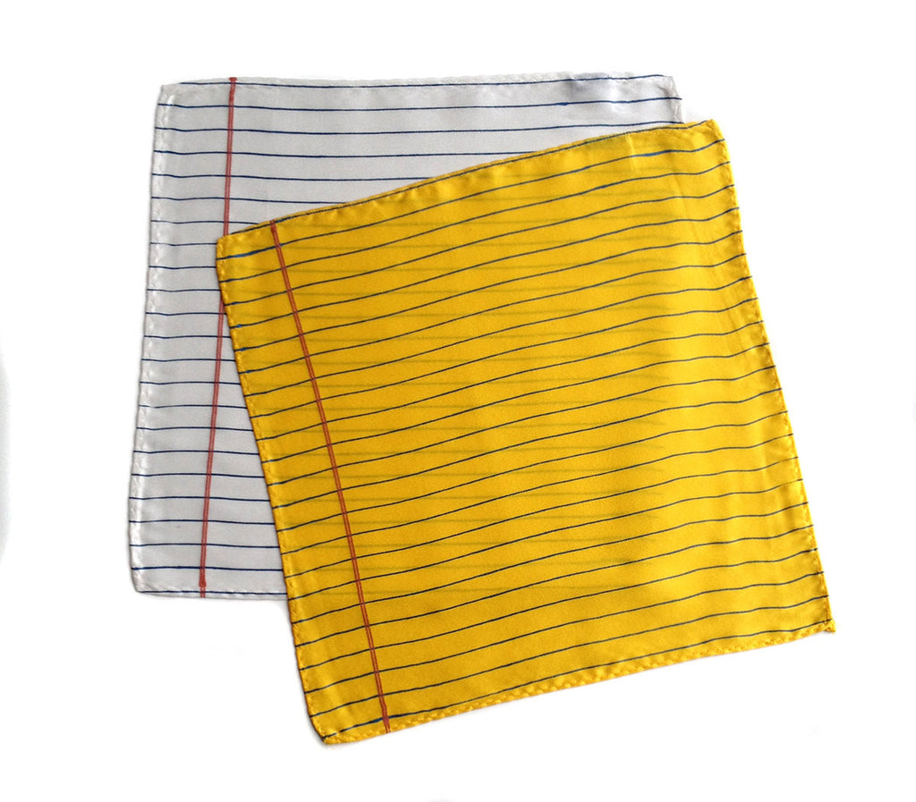 Notebook Paper Pocket Square: Lemon; Ivory.  Print College Ruled Paper
