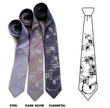 Nerve cell neckties: pale grey on steel; dark silver, gunmetal.