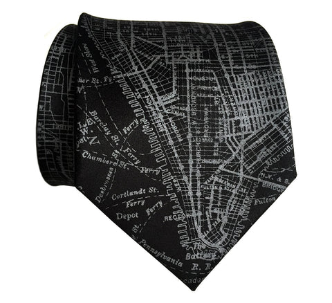 New York City Map Silk Necktie