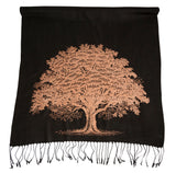 Oak Tree Print Pashmina Scarf, Linen Weave Accessories for Women, by Cyberoptix