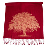 Oak Tree Linen-Weave Scarf, Copper on Ruby Pashmina, by Cyberoptix