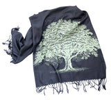 Oak Tree Silhouette Linen-Weave Pashmina Scarf, Wedding Gift, by Cyberoptix