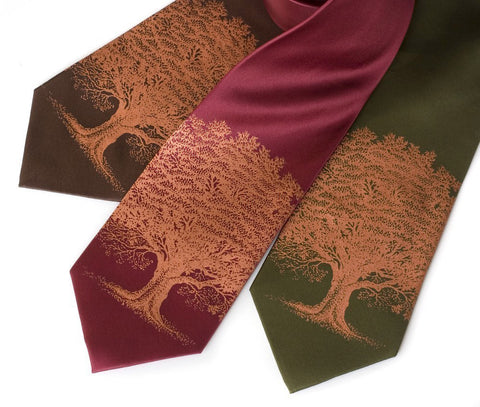 Oak Tree silk tie. Tree silhouette necktie