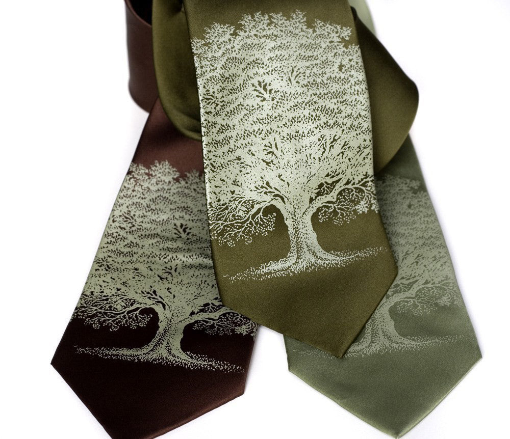 a8b6ef466599 Oak Tree Necktie, by Cyberoptix. Sage on olive, dk brown, sage.