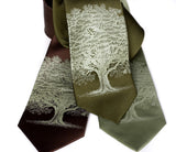Oak Tree Necktie, by Cyberoptix. Sage on olive, dk brown, sage.