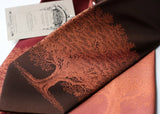 Copper ink on dk brown, burgundy, cinnamon.