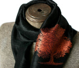 Copper ink on black silk scarf.