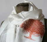 Copper ink on cream silk scarf.