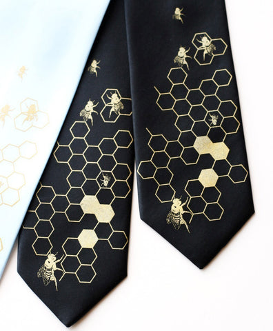 "Honey Bee Silk Necktie. Bee Hive ""Oh Honey"" honeycomb tie."