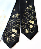 Bee Hive ties: Gold  on sky blue, black.