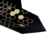 Gold and black Bee Hive necktie.