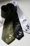 Bee Neckties: Gold on olive, silver on black, black on white.