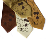 Beehive Neckties: Chocolate on gold, butter, mustard, cinnamon.