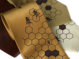 Honeybee Neckties: Chocolate on gold, mustard, cinnamon, butter.