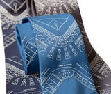 Old Tiger Stadium Blueprint Pattern Tie, Baseball Necktie, by Cyberoptix