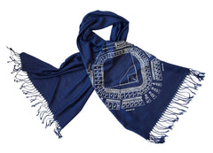 Old Tiger Stadium Blueprint Scarf, Historic Detroit Linen-Weave Pashmina