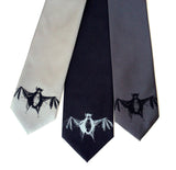 Bat Necktie. Black on silver, silver on black, black on charcoal.