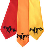 Bat Neckties. Black on red, pumpkin, marigold.