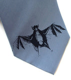 Bat Print Necktie, steel blue