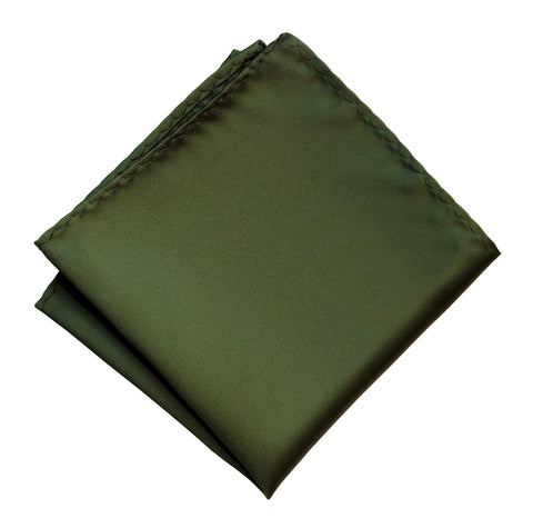 Olive Green Pocket Square. Dark Green Solid Color Satin Finish, No Print