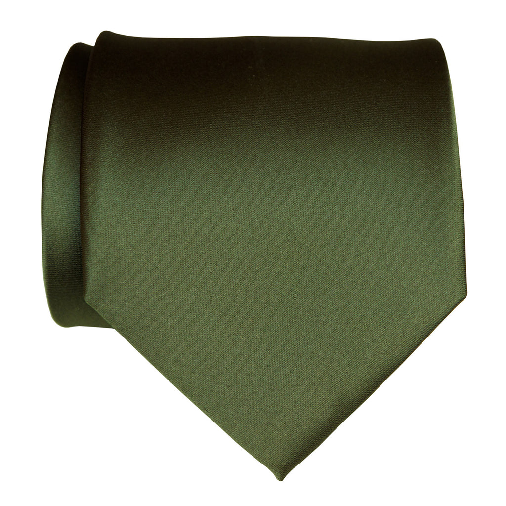 Solid Olive Green Boys 14 Clip On Tie