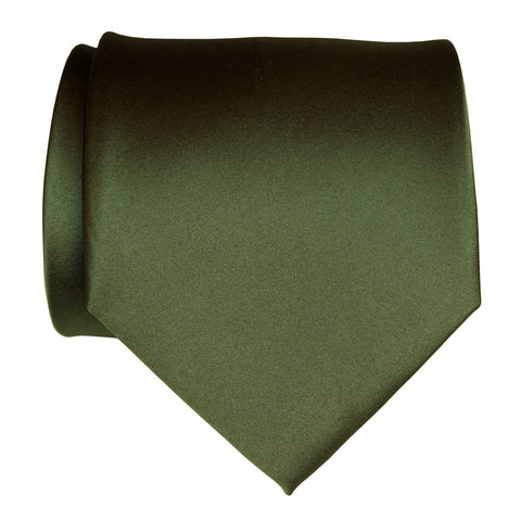 Olive Green Necktie. Dark Green Solid Color Satin Finish Tie, No Print