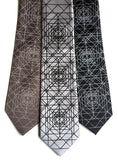 Black and white op art geometric neckties