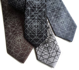 Op Art Geometric Pattern Necktie, Lines and Shapes Tie, by Cyberoptix