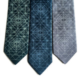 Geometric print neckties. Dark teal, peacock, gunmetal.