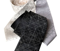 Op Art Triangles Necktie, Retroreflective Print Tie
