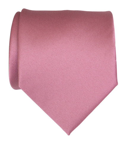 Orchid Necktie. Purple-Pink Solid Color Satin Finish Tie, No Print