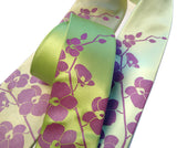 Orchid Tie: Radiant orchid on chartreuse, celery, clover.