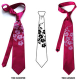 Orchid Print Silk Neckties, by Cyberoptix. Radiant orchid ink on raspberry + lineart.