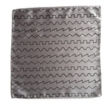 Silver oscillator waves pocket square